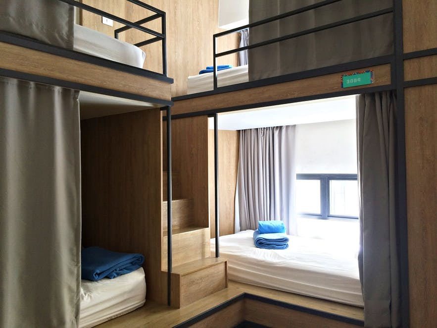 Bunk beds at Lub D Hostel in Makati City