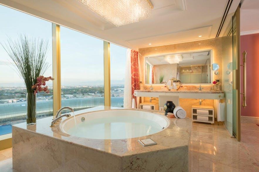 Guest room bath tub in Okada Manila Hotel
