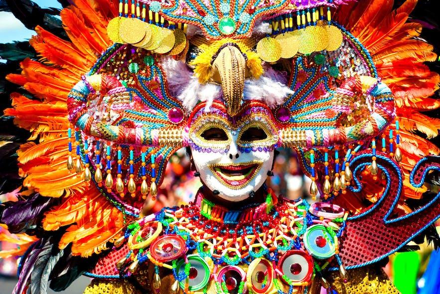 Parade of colorful smiling mask at Masskara Festival, Bacolod City.