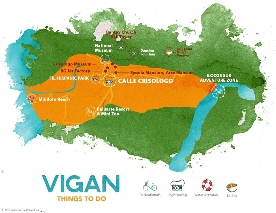 Map of things to do in Vigan