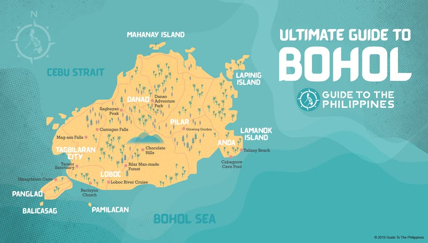 Map of neighborhoods and areas in Bohol, Philippines