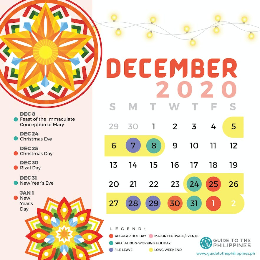 December 2020 Philippines calendar of holidays special non-working days festivals long weekends