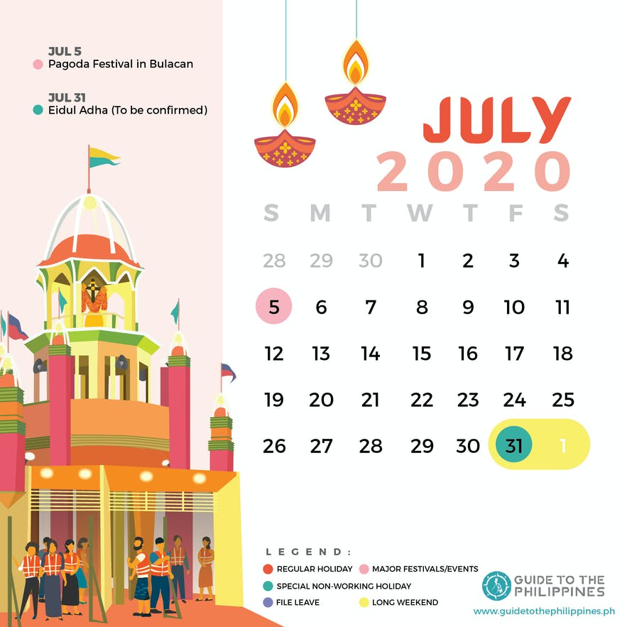 July 2020 Philippines calendar of holidays special non-working days festivals long weekends