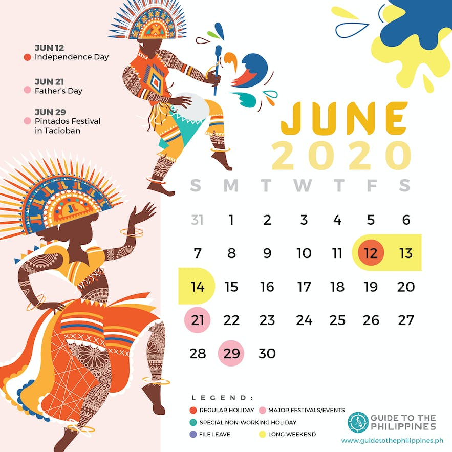June 2020 Philippines calendar of holidays special non-working days festivals long weekends
