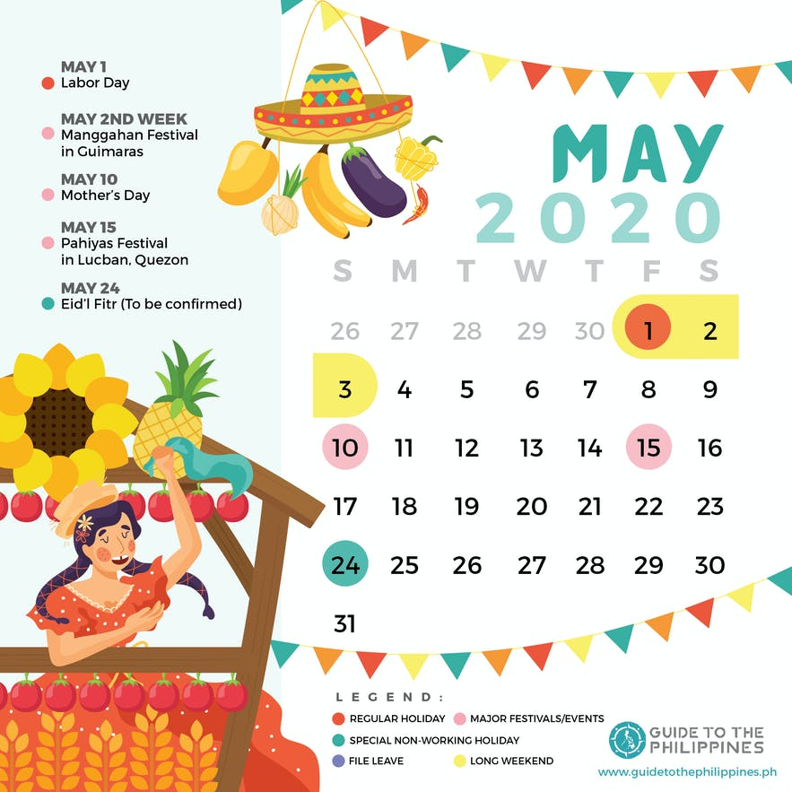 May 2020 Philippines calendar of holidays special non-working days festivals long weekends