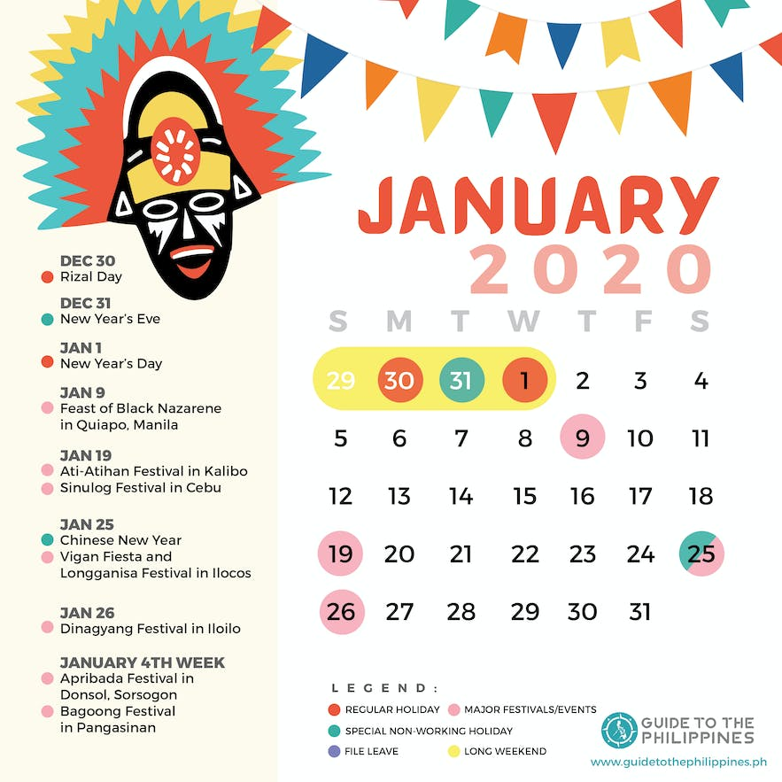 January 2020 Philippines calendar of holidays special non-working days festivals long weekends