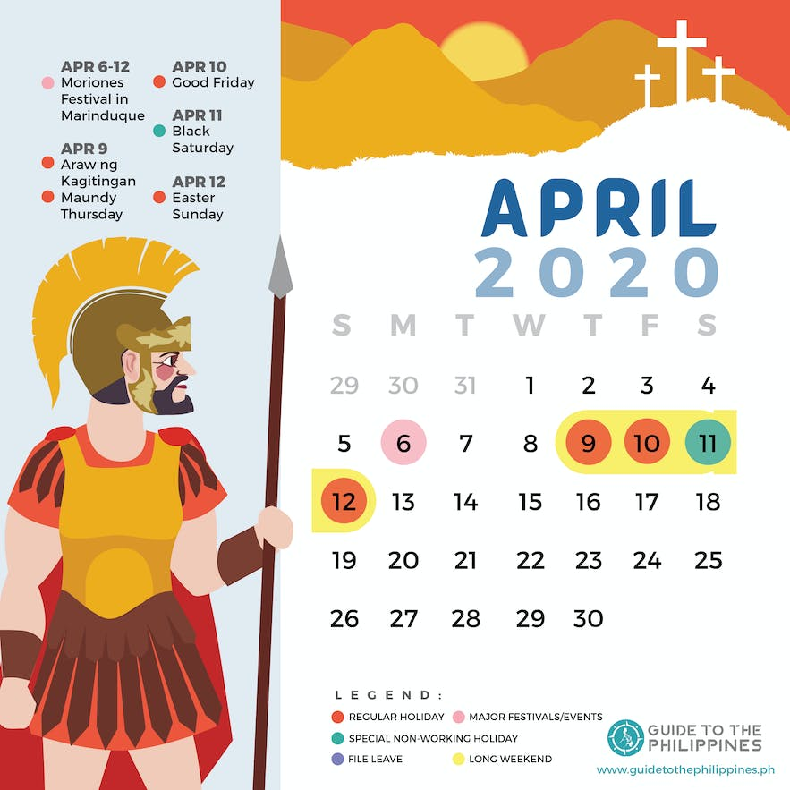 April 2020 Philippines calendar of holidays special non-working days festivals long weekends