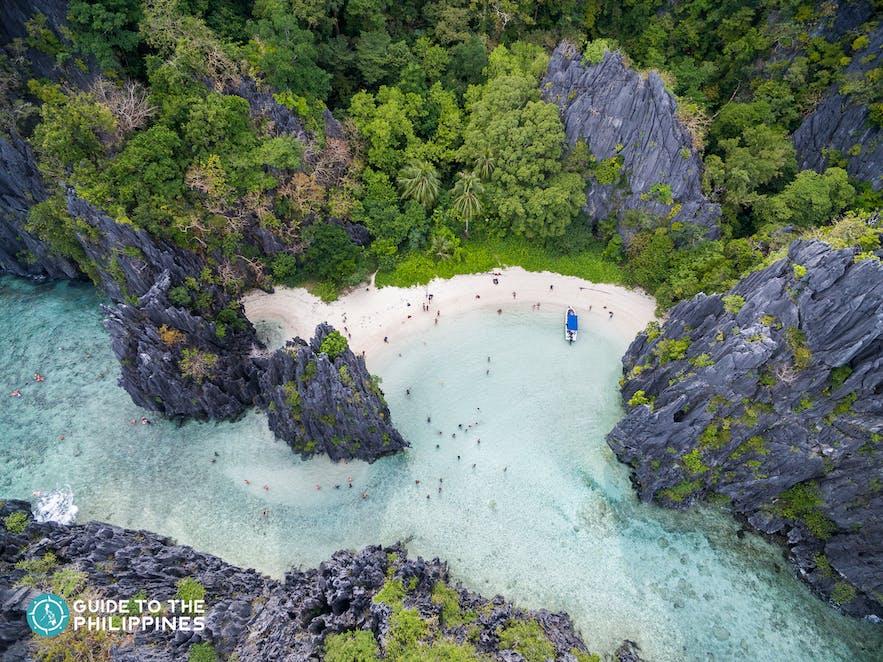 Hidden Beach in El Nido, Palawan, Philippines