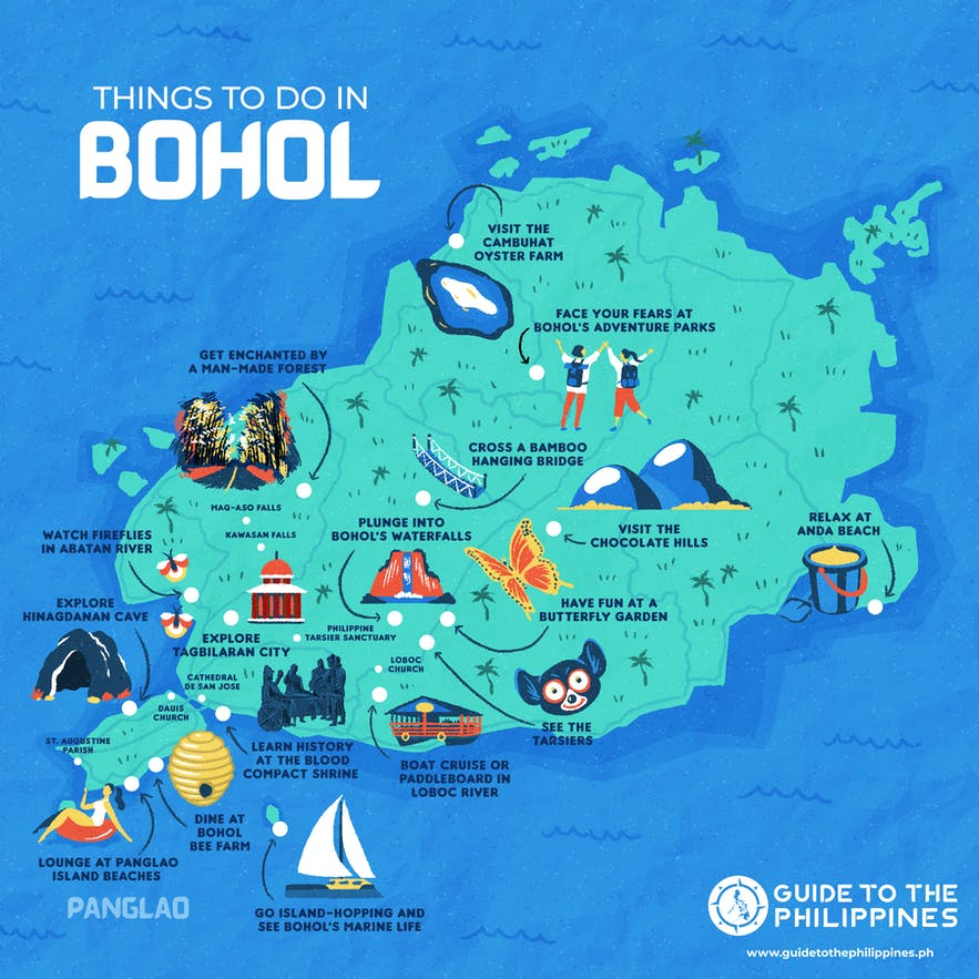 Map of things to do in Bohol, Philippines