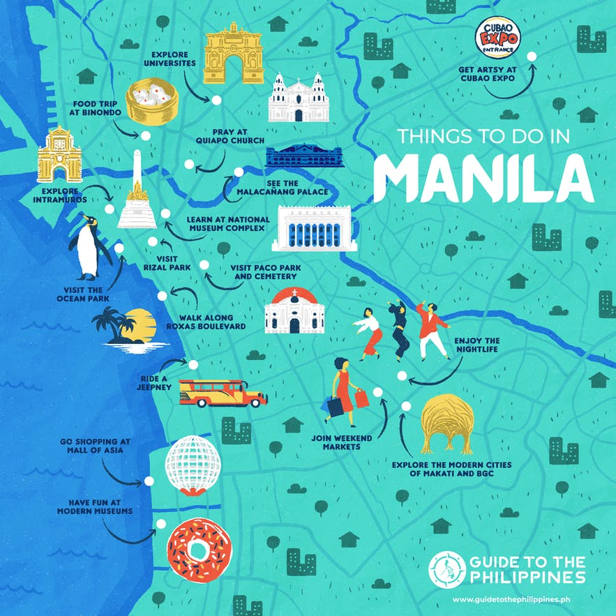 Guide to the Philippines' map of things to do and places to visit in Manila