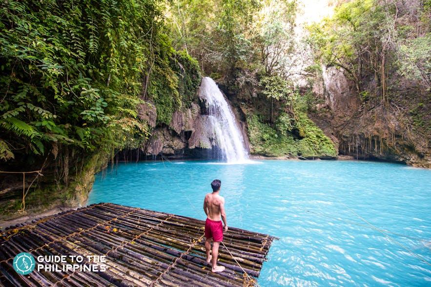 Traveler enjoying Kawasan Falls in Badian, Cebu