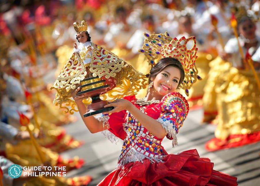 Woman in Sinulog Festival in Cebu City, Cebu, Philippines.
