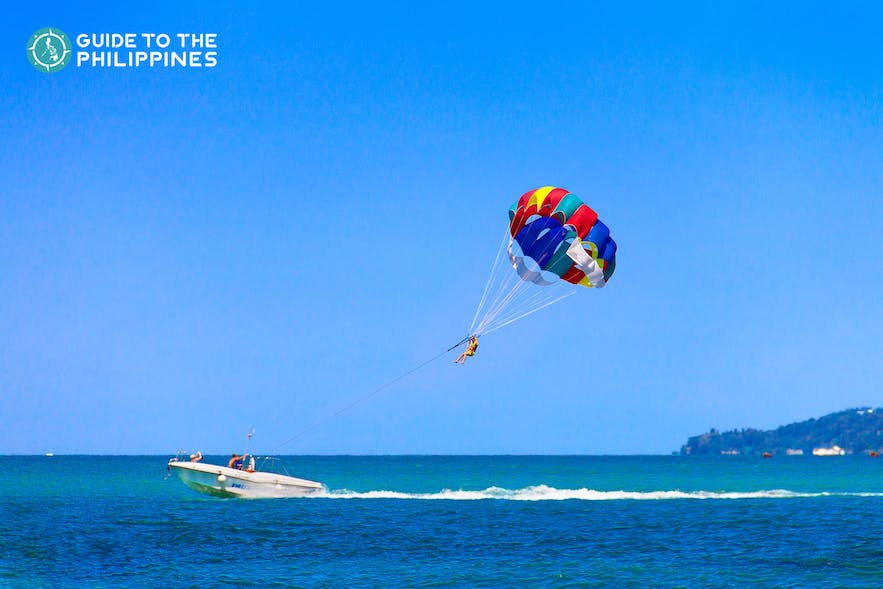 Parasailing in Boracay Island, Philippines