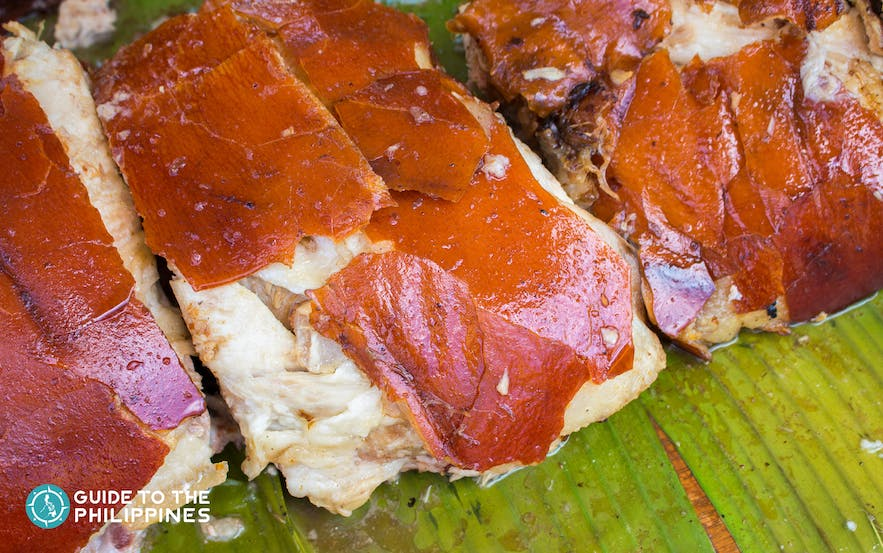 Cebu's lechon chopped, and served in a restaurant