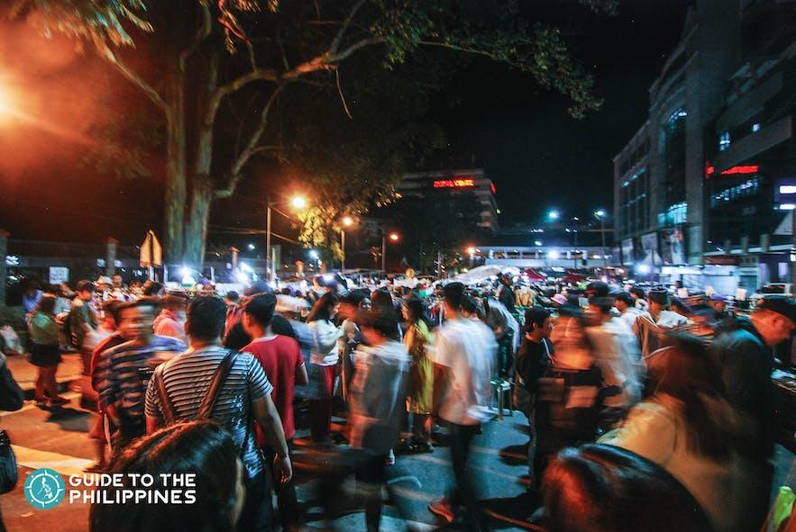 baguio night market busy scene