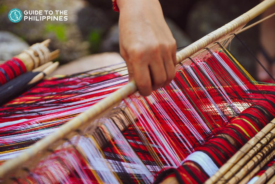 hand-woven cloth in easter weaving room