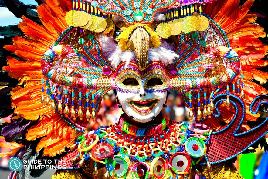 Parade of colorful smiling mask at Masskara Festival, Bacolod City.