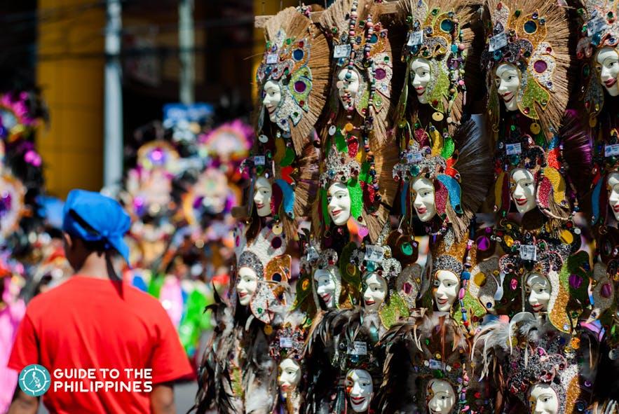 MassKara souvenir mask displayed at the street for sale