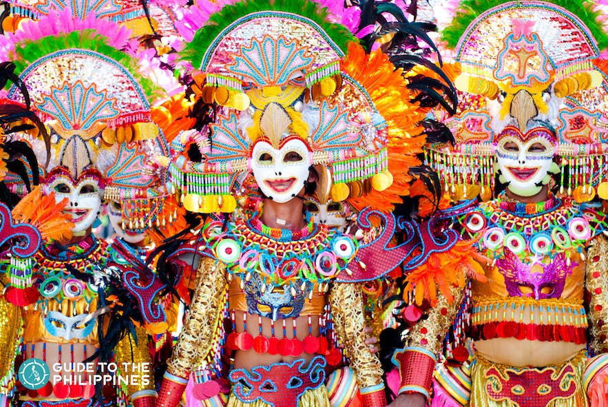 Parade of smiling masks in Masskara festival in Bacolod, Philippines