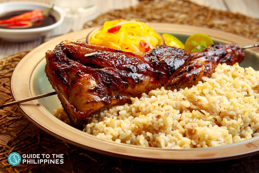 Chicken Inasal with brown rice and atchara