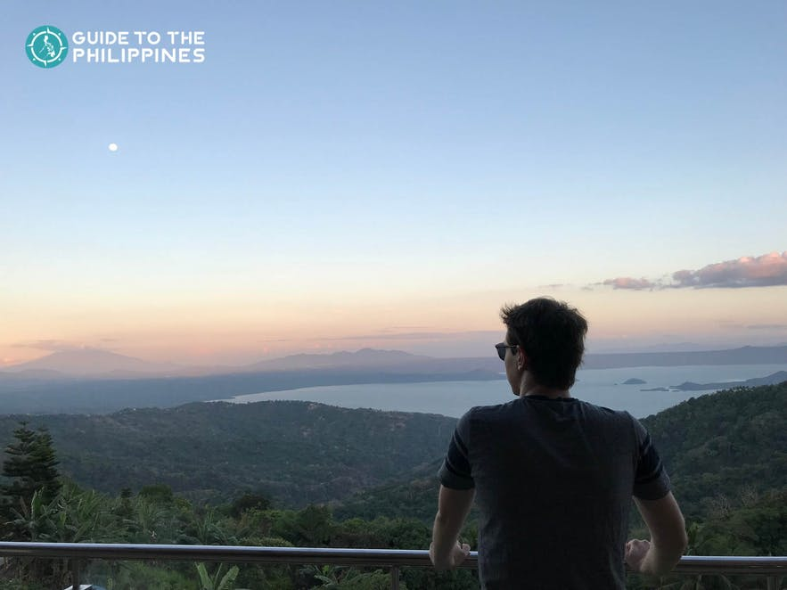 Man viewing the Taal Volcano