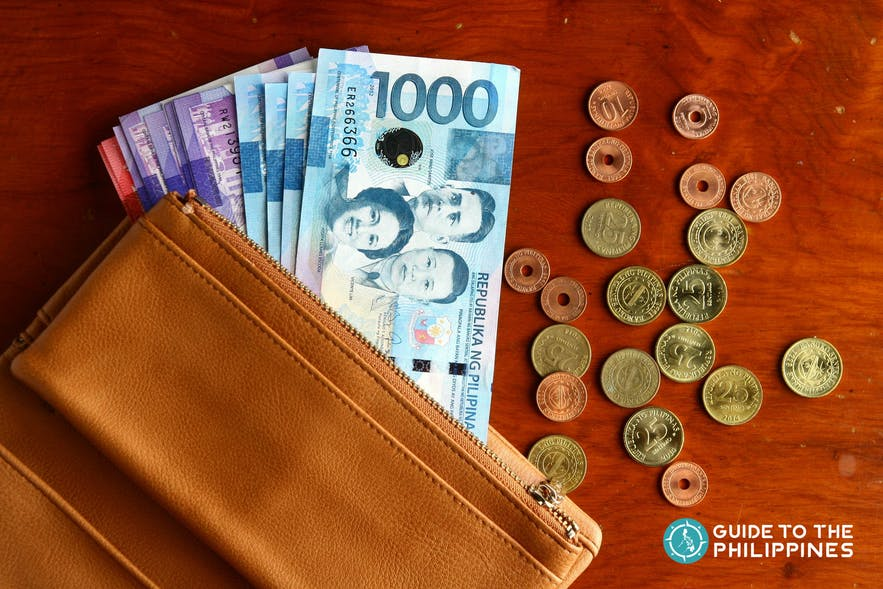 Peso bills and coins