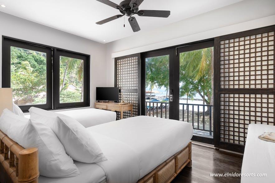 Beachside room at Miniloc Island in El Nido, Palawan