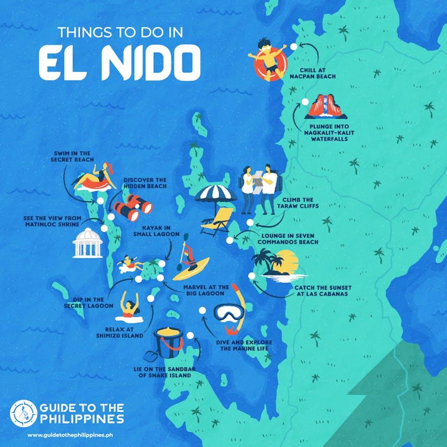 Things to do in El Nido, Palawan map