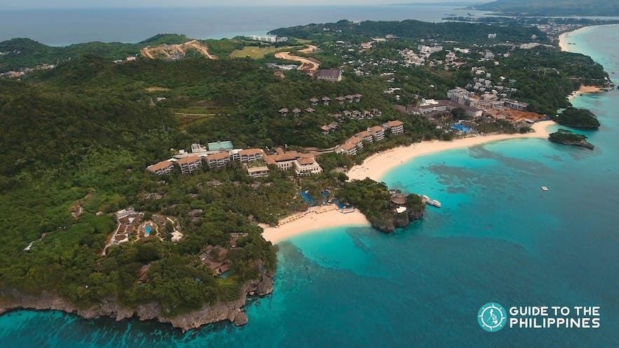 Aerial view of Boracay with stores and resorts