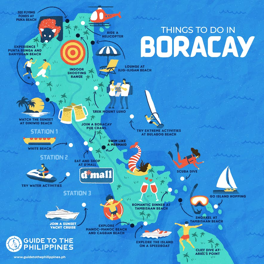 Map of things to do in Boracay