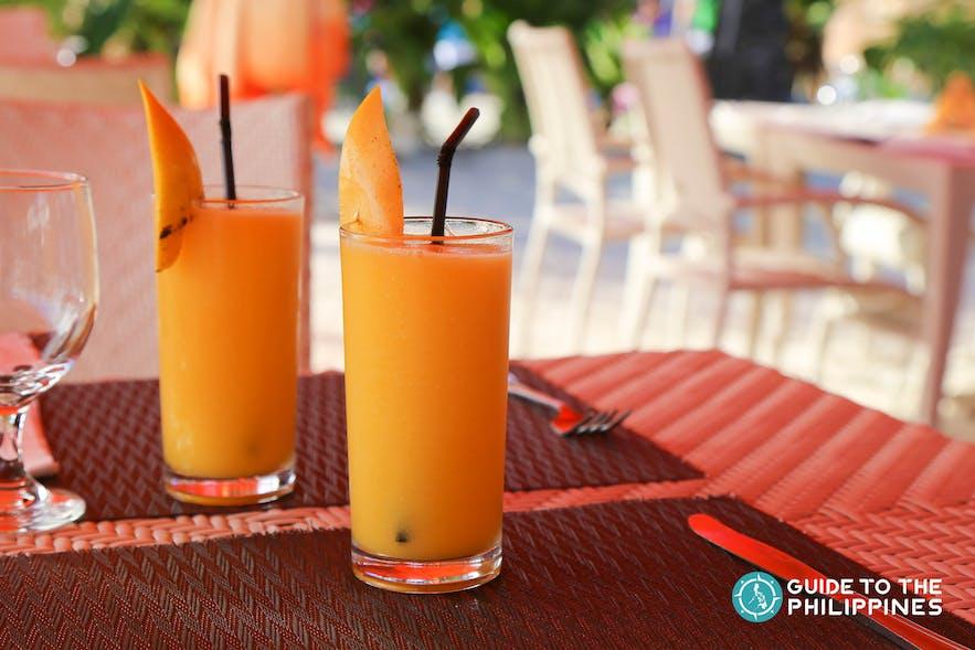 Mango shake in one of the restaurants in Boracay