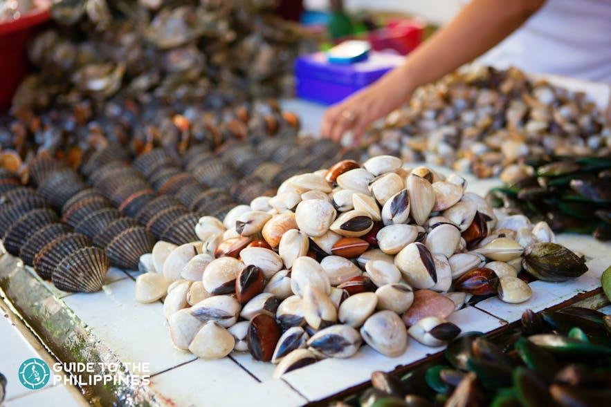 Fresh seafood in market in Boracay