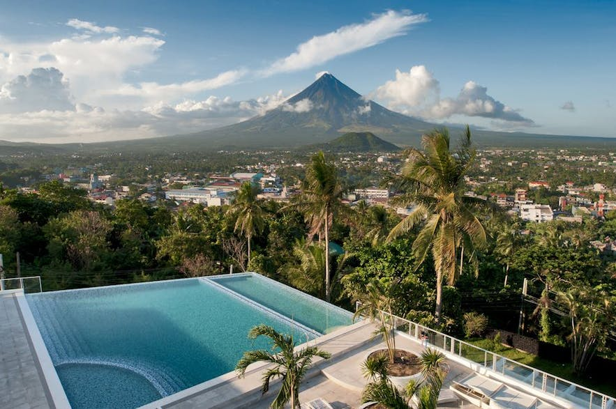 Mt. Mayon view from The Oriental Legazpi's pool