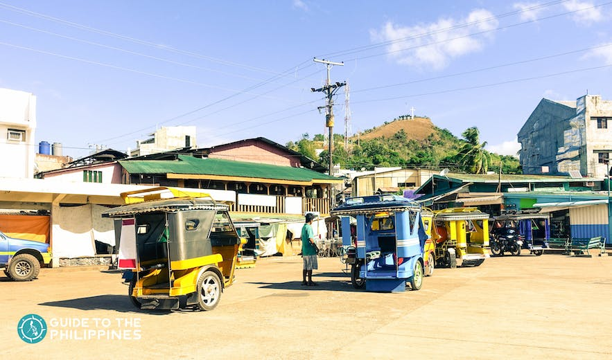 Tricycles are the primary mode of transportation in downtown Coron
