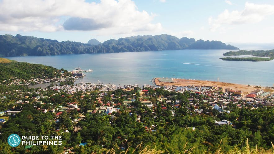 View of Coron Town from Mt. Tapyas Hills in Coron, Palawan