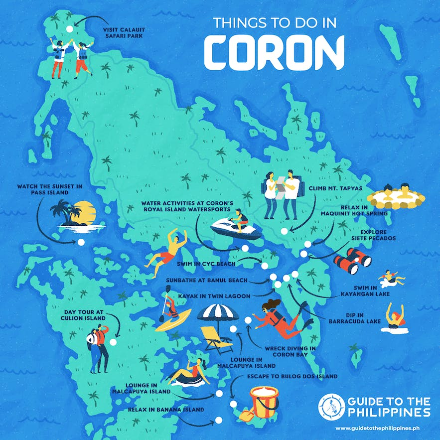 Things to do in Coron, Palawan map