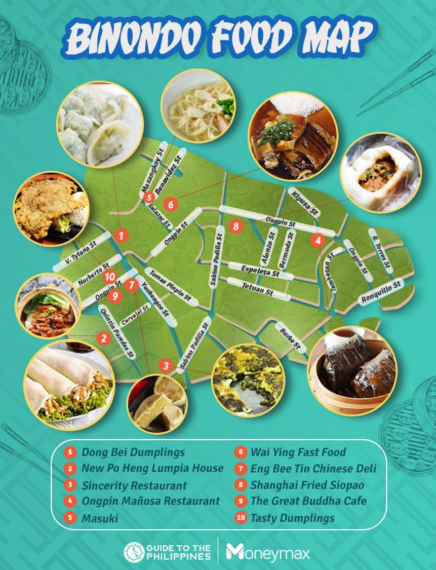 Map of 10 streetside shops in Binondo by Moneymax