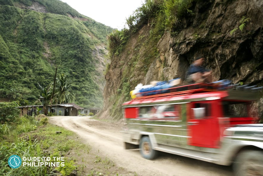 Jeepney in the road going to Sagada