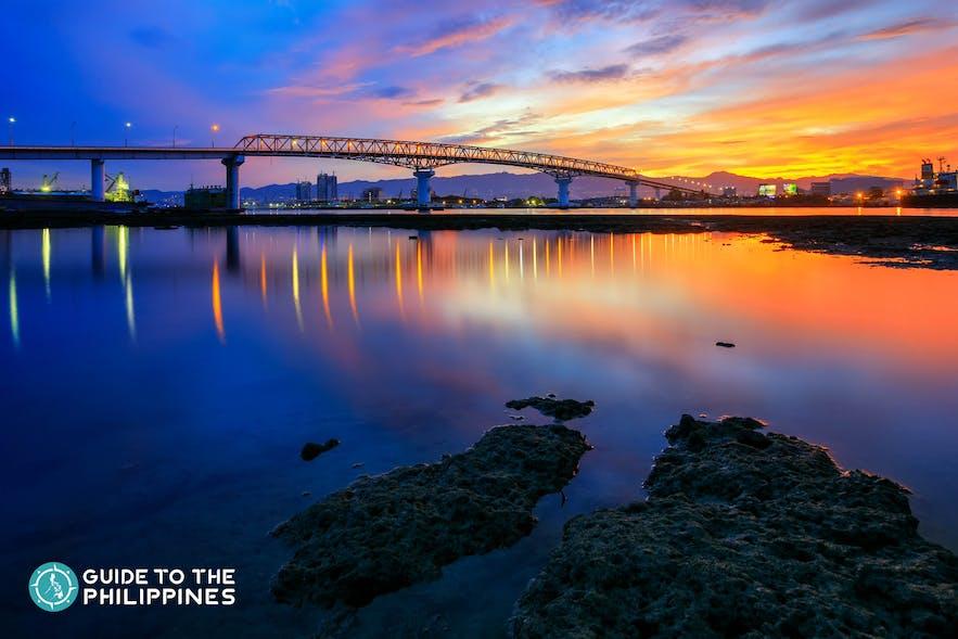 Mactan Bridge at night in Cebu