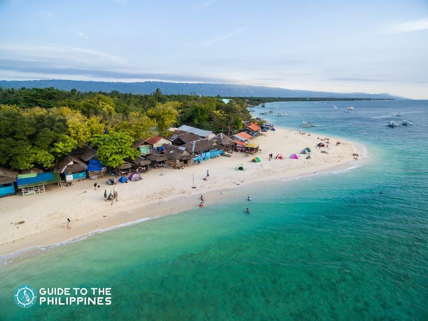 Moalboal white beach during summer in Cebu