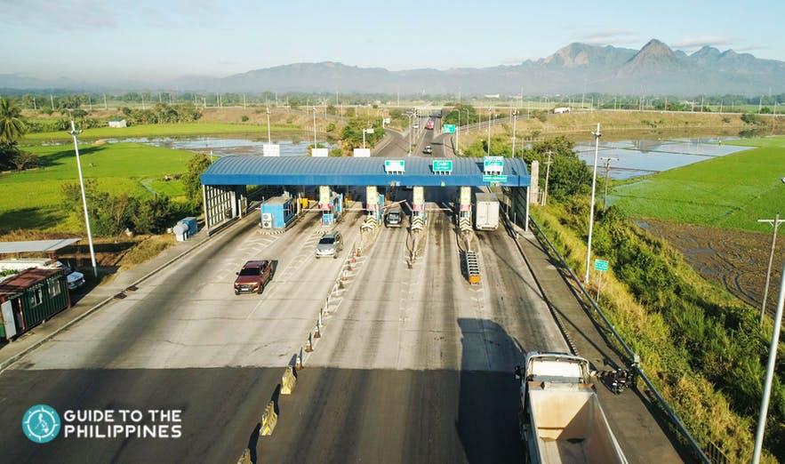Toll gates going to Pampanga from Manila