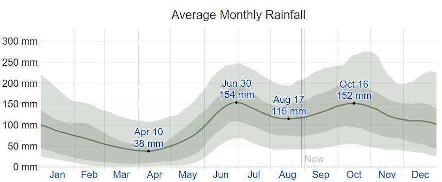 Graph showing summary of the average monthly rainfall in Cebu
