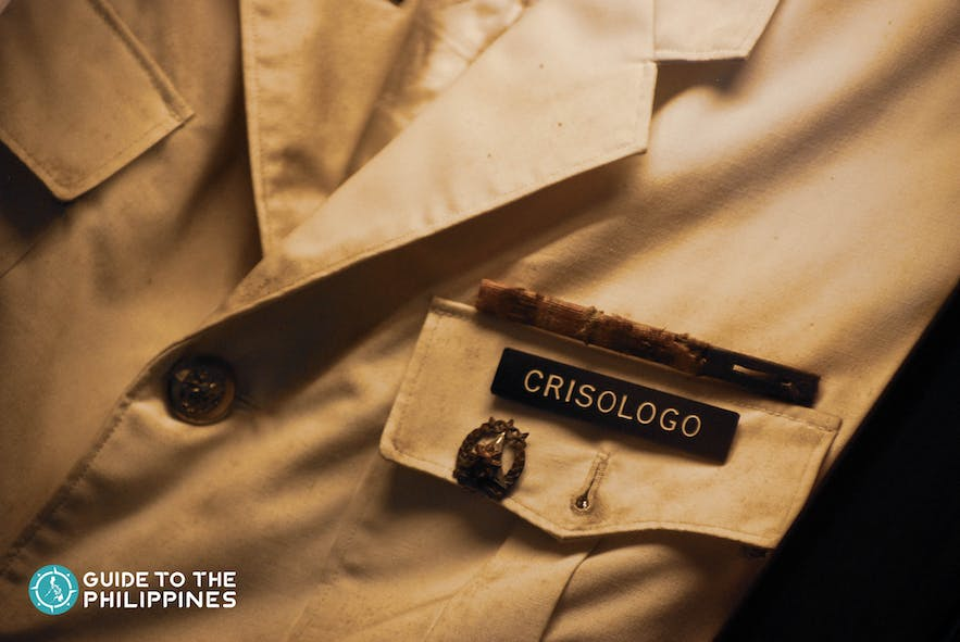 The late Cong. Floro S. Crisologo's nameplate on his shirt pocket