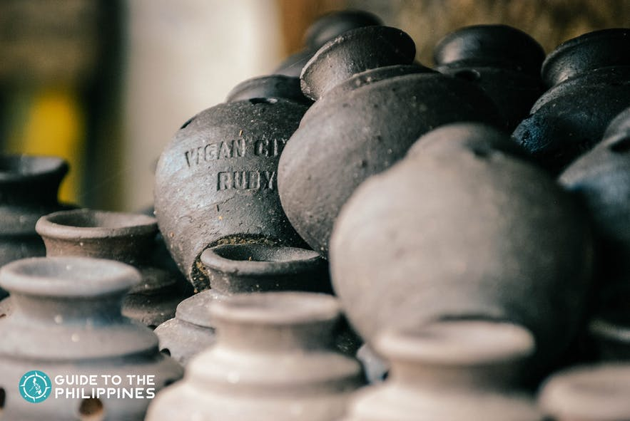 Jars created through an old fashioned pottery making method in Vigan