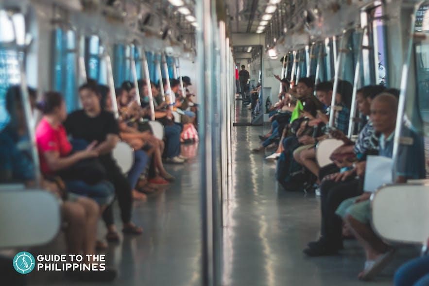 Inside the MRT (Metro Rail Transit) in Metro Manila