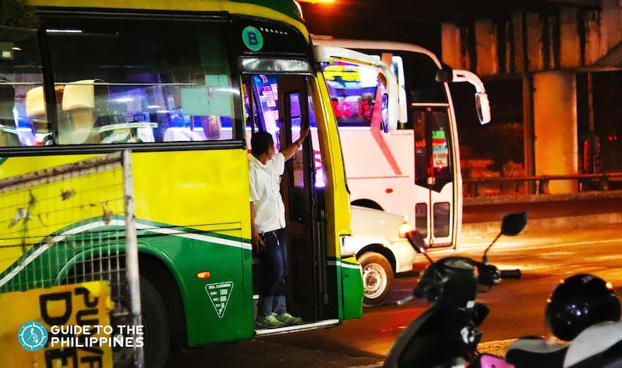 Public bus along EDSA going to Quezon City