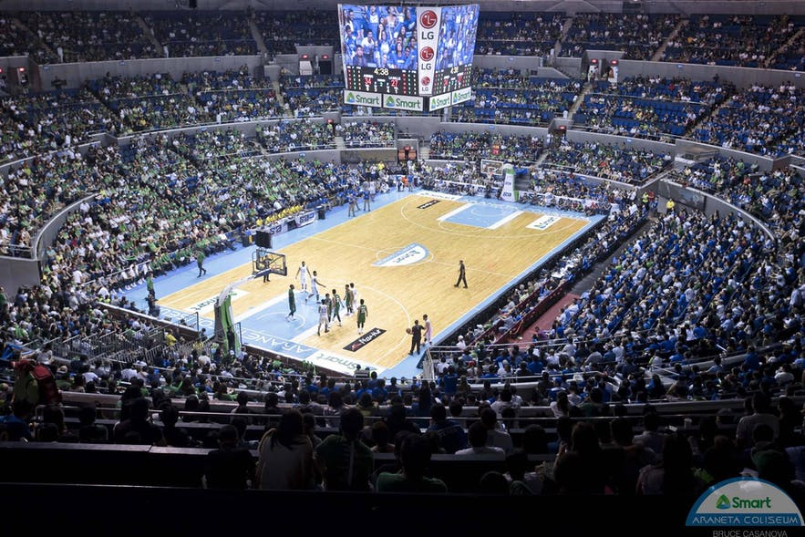 Araneta Coliseum during a basketball game