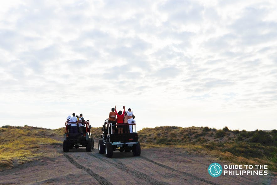 People during atv ride in Paoay Sand Dunes