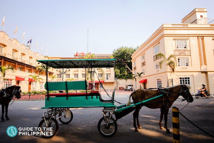 Kalesa, a horse-drawn carriage, in Intramuros, Manila