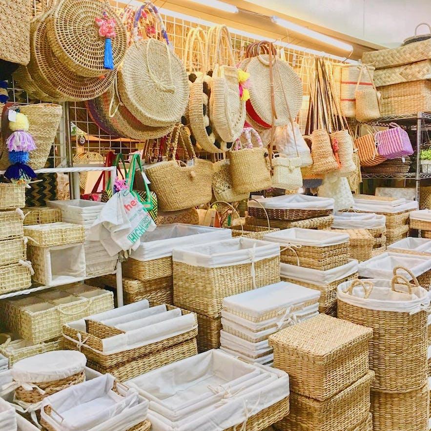 Rattan bags and home organizers sold at Tiendesitas